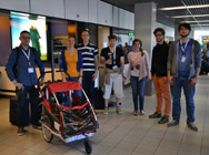 First data collection at Schiphol - Shiny happy people posing with the sensor platform.