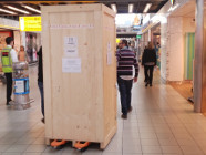 Arrival of the SPENCER robot at Schiphol Airport.