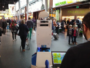 The SPENCER robot at Schiphol Airport.