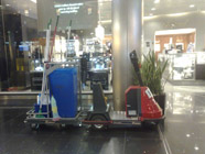 Dynamice obstacles at Schiphol airport: A cleaning trolley.